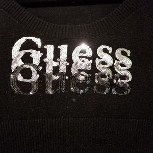 Juniors Black Crewneck Guess Sweater size SM EUC